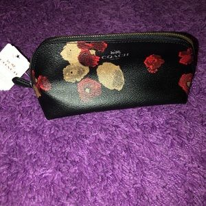 Authentic Coach Makeup Bag - Black w/ Flowers